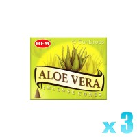 Hem Incense Cones - Aloe Vera - 3 Packets / 30 Cones
