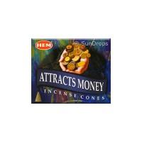 Hem Incense Cones - Attracts Money - 1 Packet / 10 Cones