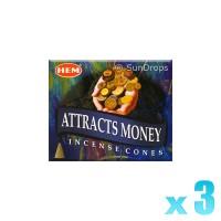 Hem Incense Cones - Attracts Money - 3 Packets / 30 Cones