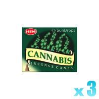 Hem Incense Cones - Cannabis - 3 Packets / 30 Cones