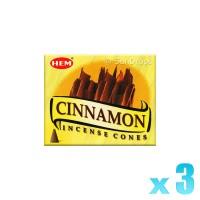 Hem Incense Cones - Cinnamon - 3 Packets / 30 Cones