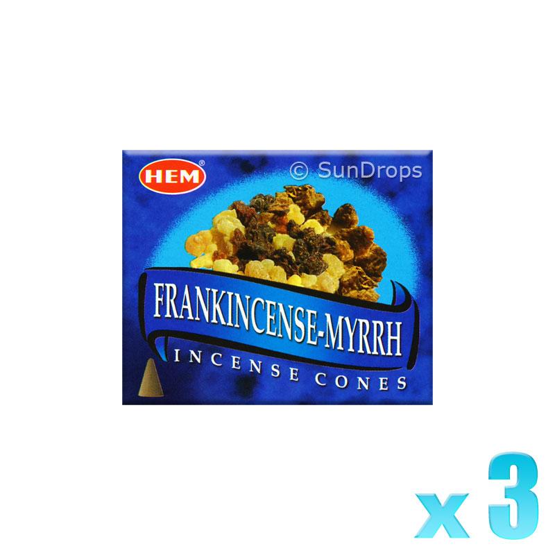 Hem Incense Cones - Frankincense Myrrh - 3 Packets / 30 Cones