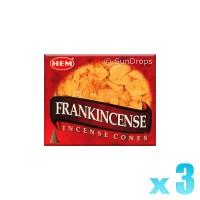 Hem Incense Cones - Frankincense - 3 Packets / 30 Cones