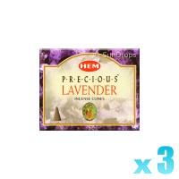 Hem Incense Cones - Precious Lavender - 3 Packets / 30 Cones