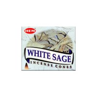 Hem Incense Cones - White Sage - 1 Packet / 10 Cones