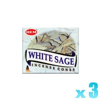 Hem Incense Cones - White Sage - 3 Packets / 30 Cones