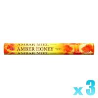Hem Incense Sticks - Amber Honey - 3 Packets / 60 Sticks