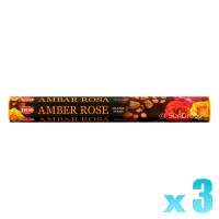 Hem Incense Sticks - Amber Rose - 3 Packets / 60 Sticks