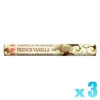 Hem Incense Sticks - French Vanilla - 3 Packets / 60 Sticks