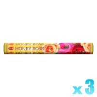 Hem Incense Sticks - Honey Rose - 3 Packets / 60 Sticks