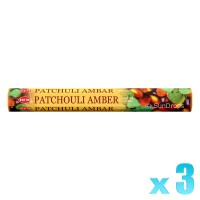 Hem Incense Sticks - Patchouli Amber - 3 Packets / 60 Sticks