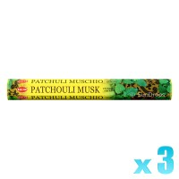 Hem Incense Sticks - Patchouli Musk - 3 Packets / 60 Sticks