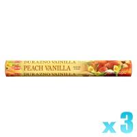Hem Incense Sticks - Peach Vanilla - 3 Packets / 60 Sticks