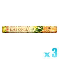 Hem Incense Sticks - Rose Vanilla - 3 Packets / 60 Sticks