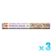 Hem Incense Sticks - White Sage - 3 Packets / 60 Sticks