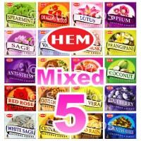 Mixed Hem Incense Cones - 5 Packets / 50 Cones