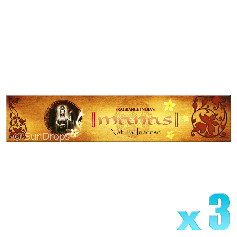 Fragrance India Incense Sticks - Manas - 3 Packets / 45 Sticks